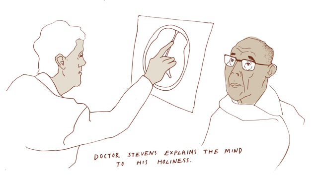 Image of a doctor explaining the brain to His Holiness the Dalai Lama