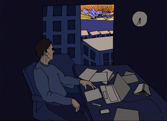Illustration of author looking out an apartment window at a sunset