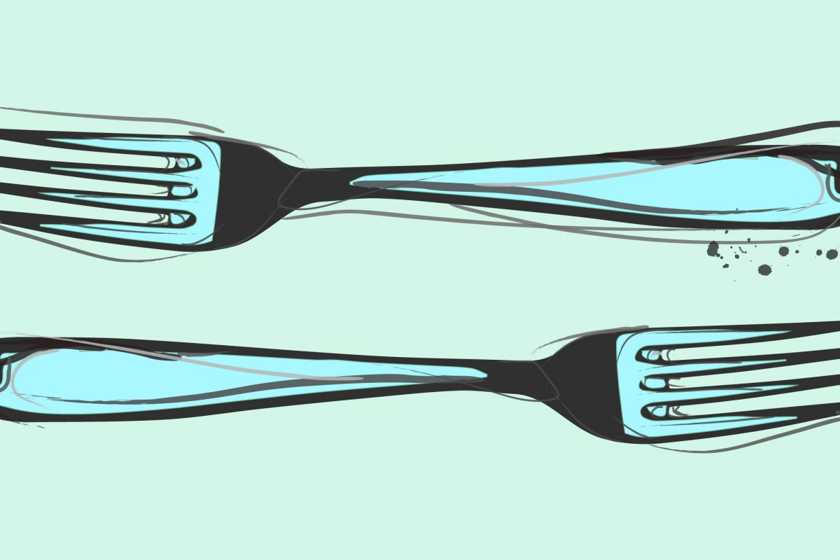 Illustration of two forks facing in opposite directions