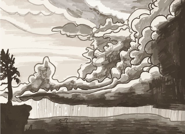 Illustration of landscape with thunderclouds and rain storm