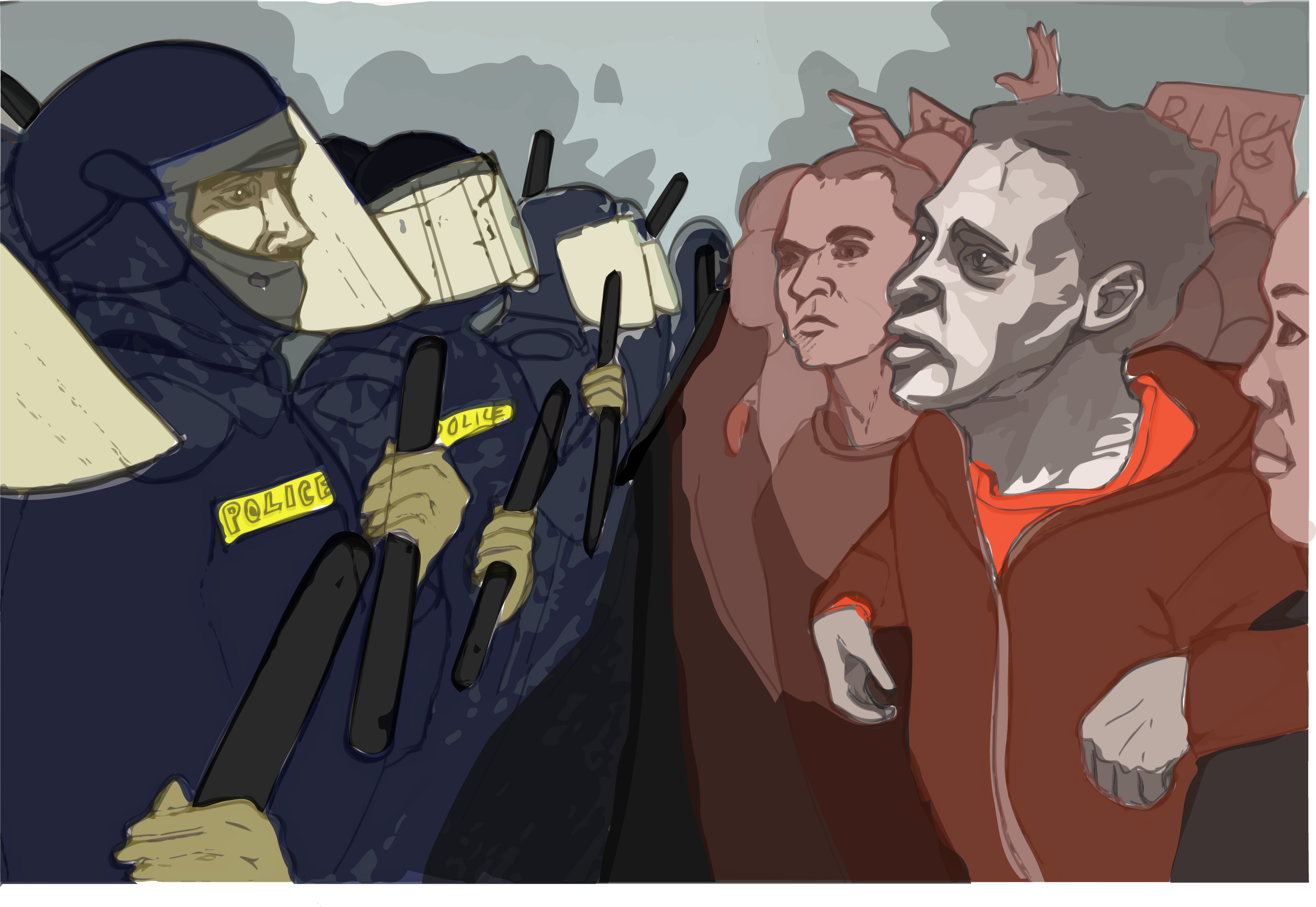 Illustration of protestors confronting police dressed in riot gear