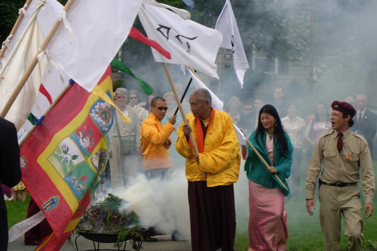 Image of a lhasang ceremony. Photograph by Peter Alan Roberts